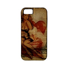 Vintage Newspaper Print Sexy Hot Gil Elvgren Pin Up Girl Paris Eiffel Tower Apple iPhone 5 Classic Hardshell Case (PC+Silicone)