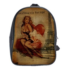 Vintage Newspaper Print Sexy Hot Gil Elvgren Pin Up Girl Paris Eiffel Tower School Bag (XL)