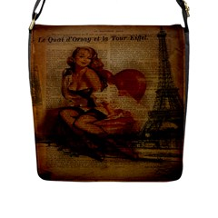 Vintage Newspaper Print Sexy Hot Gil Elvgren Pin Up Girl Paris Eiffel Tower Flap Closure Messenger Bag (Large)