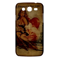 Vintage Newspaper Print Sexy Hot Gil Elvgren Pin Up Girl Paris Eiffel Tower Samsung Galaxy Mega 5.8 I9152 Hardshell Case