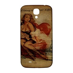 Vintage Newspaper Print Sexy Hot Gil Elvgren Pin Up Girl Paris Eiffel Tower Samsung Galaxy S4 I9500/I9505  Hardshell Back Case