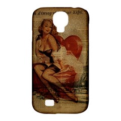Vintage Newspaper Print Sexy Hot Gil Elvgren Pin Up Girl Paris Eiffel Tower Samsung Galaxy S4 Classic Hardshell Case (pc+silicone)