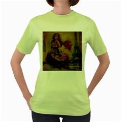 Vintage Newspaper Print Sexy Hot Gil Elvgren Pin Up Girl Paris Eiffel Tower Womens  T Shirt (green)