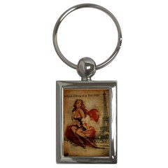 Vintage Newspaper Print Sexy Hot Gil Elvgren Pin Up Girl Paris Eiffel Tower Key Chain (Rectangle)