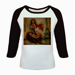 Vintage Newspaper Print Sexy Hot Gil Elvgren Pin Up Girl Paris Eiffel Tower Women s Long Cap Sleeve T Shirt