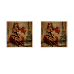 Vintage Newspaper Print Sexy Hot Gil Elvgren Pin Up Girl Paris Eiffel Tower Cufflinks (square)