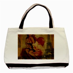 Vintage Newspaper Print Sexy Hot Gil Elvgren Pin Up Girl Paris Eiffel Tower Classic Tote Bag