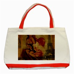 Vintage Newspaper Print Sexy Hot Gil Elvgren Pin Up Girl Paris Eiffel Tower Classic Tote Bag (Red)