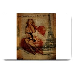 Vintage Newspaper Print Sexy Hot Gil Elvgren Pin Up Girl Paris Eiffel Tower Large Door Mat