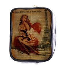 Vintage Newspaper Print Sexy Hot Gil Elvgren Pin Up Girl Paris Eiffel Tower Mini Travel Toiletry Bag (one Side)