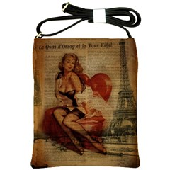 Vintage Newspaper Print Sexy Hot Gil Elvgren Pin Up Girl Paris Eiffel Tower Shoulder Sling Bag
