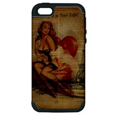 Vintage Newspaper Print Sexy Hot Gil Elvgren Pin Up Girl Paris Eiffel Tower Apple iPhone 5 Hardshell Case (PC+Silicone)