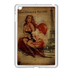 Vintage Newspaper Print Sexy Hot Gil Elvgren Pin Up Girl Paris Eiffel Tower Apple Ipad Mini Case (white)