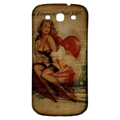 Vintage Newspaper Print Sexy Hot Gil Elvgren Pin Up Girl Paris Eiffel Tower Samsung Galaxy S3 S III Classic Hardshell Back Case