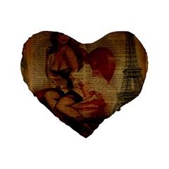 Vintage Newspaper Print Sexy Hot Gil Elvgren Pin Up Girl Paris Eiffel Tower 16  Premium Heart Shape Cushion
