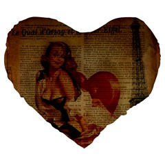 Vintage Newspaper Print Sexy Hot Gil Elvgren Pin Up Girl Paris Eiffel Tower 19  Premium Heart Shape Cushion