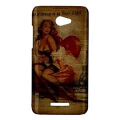 Vintage Newspaper Print Sexy Hot Gil Elvgren Pin Up Girl Paris Eiffel Tower HTC X920E(Butterfly) Case