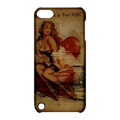 Vintage Newspaper Print Sexy Hot Gil Elvgren Pin Up Girl Paris Eiffel Tower Apple iPod Touch 5 Hardshell Case with Stand
