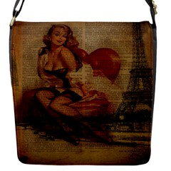 Vintage Newspaper Print Sexy Hot Gil Elvgren Pin Up Girl Paris Eiffel Tower Removable Flap Cover (Small)