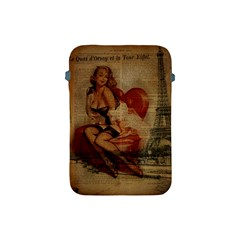 Vintage Newspaper Print Sexy Hot Gil Elvgren Pin Up Girl Paris Eiffel Tower Apple iPad Mini Protective Soft Case