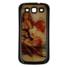 Vintage Newspaper Print Sexy Hot Gil Elvgren Pin Up Girl Paris Eiffel Tower Samsung Galaxy S3 Back Case (black)