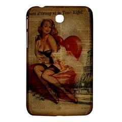 Vintage Newspaper Print Sexy Hot Gil Elvgren Pin Up Girl Paris Eiffel Tower Samsung Galaxy Tab 3 (7 ) P3200 Hardshell Case