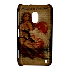 Vintage Newspaper Print Sexy Hot Gil Elvgren Pin Up Girl Paris Eiffel Tower Nokia Lumia 620 Hardshell Case