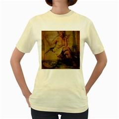 Vintage Newspaper Print Sexy Hot Gil Elvgren Pin Up Girl Paris Eiffel Tower  Womens  T Shirt (yellow)