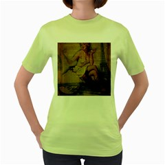 Vintage Newspaper Print Sexy Hot Gil Elvgren Pin Up Girl Paris Eiffel Tower Womens  T-shirt (Green)