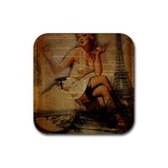 Vintage Newspaper Print Sexy Hot Gil Elvgren Pin Up Girl Paris Eiffel Tower Drink Coasters 4 Pack (square)