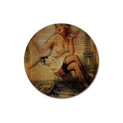 Vintage Newspaper Print Sexy Hot Gil Elvgren Pin Up Girl Paris Eiffel Tower Magnet 3  (round)