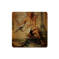 Vintage Newspaper Print Sexy Hot Gil Elvgren Pin Up Girl Paris Eiffel Tower Magnet (Square)