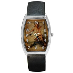 Vintage Newspaper Print Sexy Hot Gil Elvgren Pin Up Girl Paris Eiffel Tower Tonneau Leather Watch