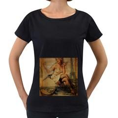 Vintage Newspaper Print Sexy Hot Gil Elvgren Pin Up Girl Paris Eiffel Tower Womens' Maternity T-shirt (Black)