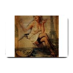 Vintage Newspaper Print Sexy Hot Gil Elvgren Pin Up Girl Paris Eiffel Tower Small Door Mat