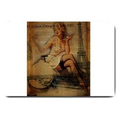 Vintage Newspaper Print Sexy Hot Gil Elvgren Pin Up Girl Paris Eiffel Tower Large Door Mat