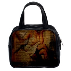 Vintage Newspaper Print Sexy Hot Gil Elvgren Pin Up Girl Paris Eiffel Tower Classic Handbag (Two Sides)
