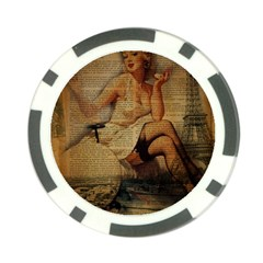 Vintage Newspaper Print Sexy Hot Gil Elvgren Pin Up Girl Paris Eiffel Tower Poker Chip 10 Pack