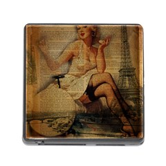 Vintage Newspaper Print Sexy Hot Gil Elvgren Pin Up Girl Paris Eiffel Tower Memory Card Reader with Storage (Square)