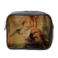 Vintage Newspaper Print Sexy Hot Gil Elvgren Pin Up Girl Paris Eiffel Tower Mini Travel Toiletry Bag (Two Sides)