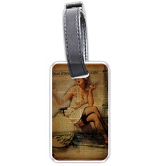 Vintage Newspaper Print Sexy Hot Gil Elvgren Pin Up Girl Paris Eiffel Tower Luggage Tag (Two Sides)