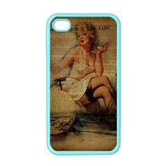 Vintage Newspaper Print Sexy Hot Gil Elvgren Pin Up Girl Paris Eiffel Tower Apple iPhone 4 Case (Color)