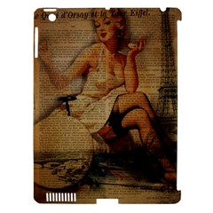 Vintage Newspaper Print Sexy Hot Gil Elvgren Pin Up Girl Paris Eiffel Tower Apple iPad 3/4 Hardshell Case (Compatible with Smart Cover)