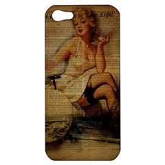 Vintage Newspaper Print Sexy Hot Gil Elvgren Pin Up Girl Paris Eiffel Tower Apple iPhone 5 Hardshell Case