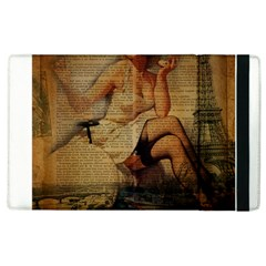 Vintage Newspaper Print Sexy Hot Gil Elvgren Pin Up Girl Paris Eiffel Tower Apple iPad 3/4 Flip Case