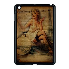 Vintage Newspaper Print Sexy Hot Gil Elvgren Pin Up Girl Paris Eiffel Tower Apple iPad Mini Case (Black)
