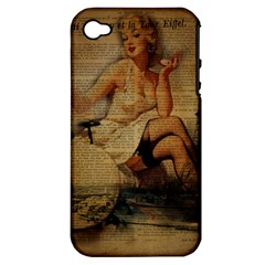 Vintage Newspaper Print Sexy Hot Gil Elvgren Pin Up Girl Paris Eiffel Tower Apple Iphone 4/4s Hardshell Case (pc+silicone)