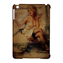 Vintage Newspaper Print Sexy Hot Gil Elvgren Pin Up Girl Paris Eiffel Tower Apple Ipad Mini Hardshell Case (compatible With Smart Cover)