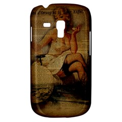 Vintage Newspaper Print Sexy Hot Gil Elvgren Pin Up Girl Paris Eiffel Tower Samsung Galaxy S3 Mini I8190 Hardshell Case