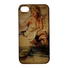 Vintage Newspaper Print Sexy Hot Gil Elvgren Pin Up Girl Paris Eiffel Tower Apple iPhone 4/4S Hardshell Case with Stand